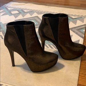 Bronze Metallic High Heel Booties